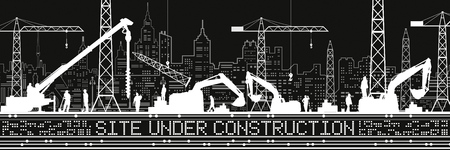 Site Under Construction illustration. Buildings panorama, industrial landscape, Construction cranes and excavators, urban scene. People working. Vector lines design art