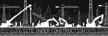 Site Under Construction illustration. Buildings panorama, industrial landscape, Construction cranes and excavators, urban scene. People working. Vector lines design art