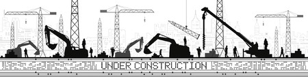 Under Construction illustration. Buildings panorama, industrial landscape, Construction cranes and excavators, urban scene. People working. Vector lines design art