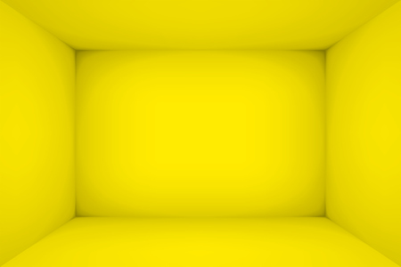 Empty yellow room. The inner space of the box. Vector design illustration. Mock up for you business project Illustration