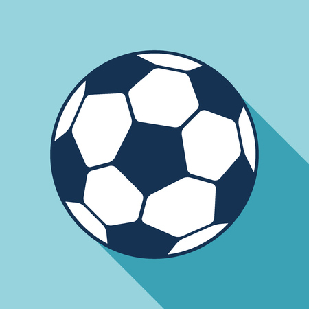Football icon in flat style. Vector Soccer ball on color background. Sport object for you design projects