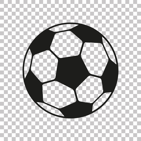 Football icon in flat style. Soccer ball on transparent background. Sport object for you design projects