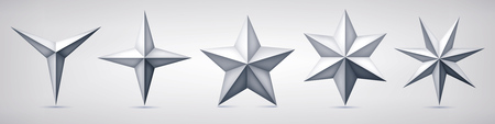 Set of volumetric vector stars. Three, four, five, and seven coal forms, geometry shape, abstract vector