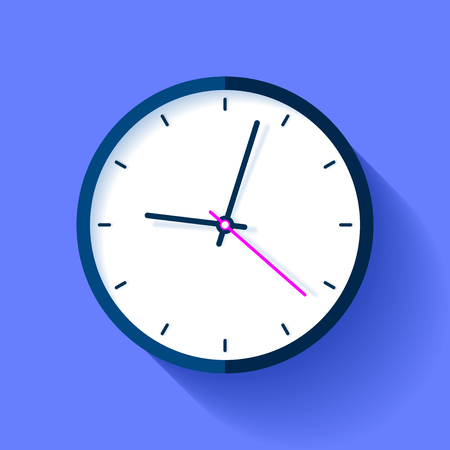 Clock icon on blue background. Nine oclock. Simple watch. Vector design element for you business projects