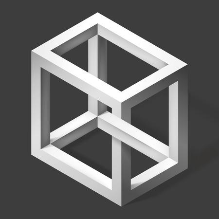 3D unreal cube shape. Illusion abstract forms. Nonexistent figure. Vector fantastic construction Illusztráció