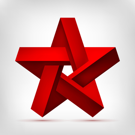 Pentagonal Illusion Red Star. Five-pointed unreal shape, nonexistent geometry object, abstract vector design Illusztráció