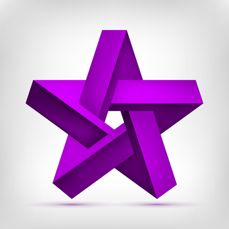 Pentagonal Illusion Star. Five-pointed unreal purple shape, nonexistent geometry object, abstract vector design