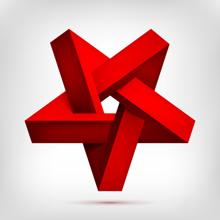 Pentagonal illusion red inverted star. Five-pointed unreal shape, nonexistent geometry object, abstract vector design