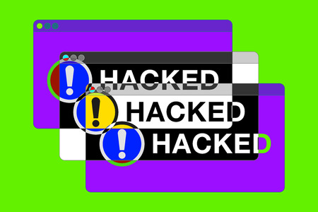 You hacked! More Error windows. Danger pages. Exclamation sign. Computer glitch. vector design for you technology projects Ilustrace