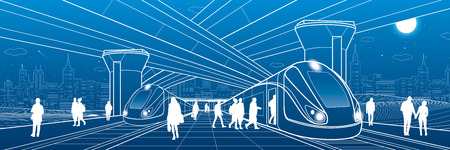 Railway station under the overpass. Passengers board the train. Urban life scene. City Transport infrastructure. Vector design outline illustration