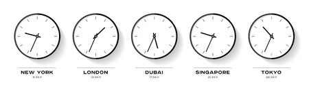 World time. Simple Clock icons in flat style. New York, London, Dubai, Singapore, Tokyo. Black Watch on white background. Business illustration for you presentation. Vector design objects Foto de archivo - 121413045