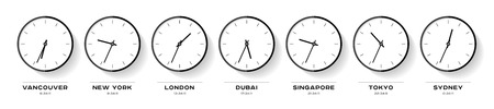 World time. Simple Clock icons in flat style. Vancouver, New York, London, Dubai, Singapore, Tokyo, Sydney. Black Watch on white background. Business illustration for you presentation. Vector design