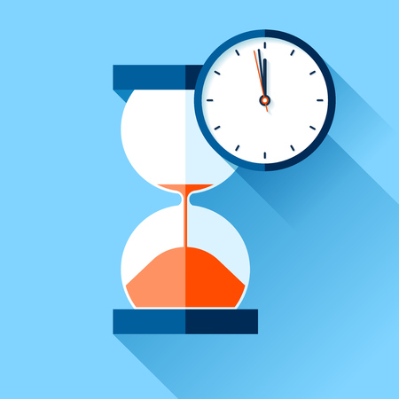 Hourglass and sandglass timer on color background. Vector design elements for you project Ilustrace