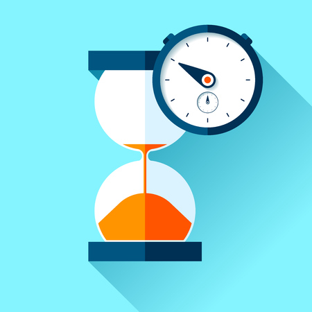 Hourglass and stopwatch icons in flat style, sandglass clock on color background. Vector design elements for you project
