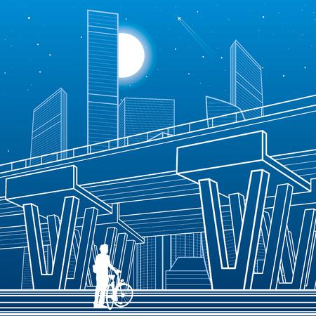 Architettura della città e illustrazione delle infrastrutture, cavalcavia automobilistico, grande ponte, scena urbana. Città notturna. Linee bianche su sfondo blu. Arte di disegno vettoriale Vettoriali