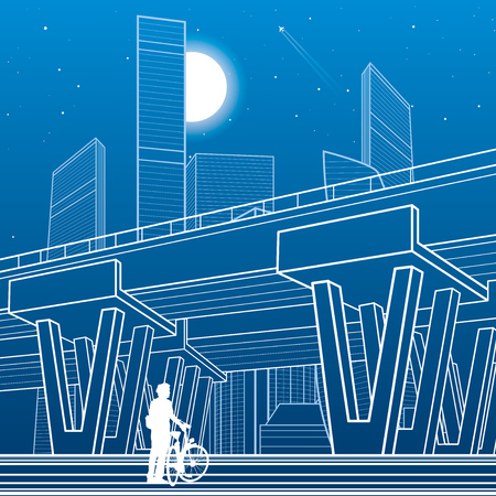City architecture and infrastructure illustration, automotive overpass, big bridge, urban scene. Night town. White lines on blue background. Vector design art