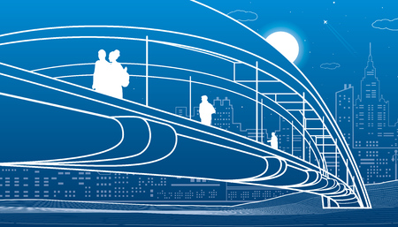 People walking at pedestrian bridge. City skyline. Modern night town. Infrastructure illustration, urban scene. White lines on blue background. Vector design art