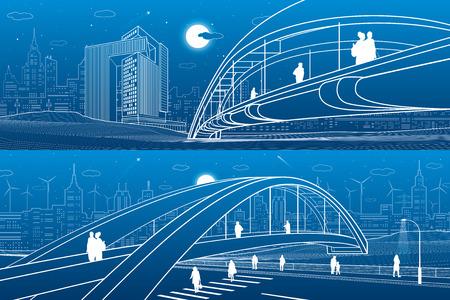Gente caminando en el puente peatonal. El horizonte de la ciudad. Ciudad de la noche moderna. Conjunto de ilustración de infraestructura, escena urbana. Líneas blancas sobre fondo azul. Arte de diseño vectorial