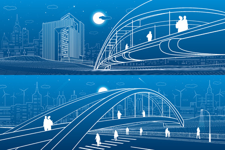 People walking at pedestrian bridge. City skyline. Modern night town. Infrastructure illustration set, urban scene. White lines on blue background. Vector design art