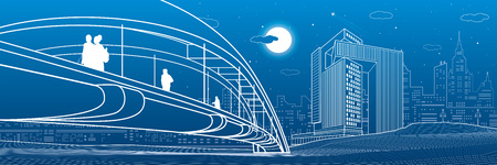 People walking at pedestrian bridge. Business city skyline. Modern night town. Infrastructure illustration, urban scene. White lines on blue background. Vector design art