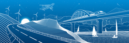 City infrastructure industrial and transport illustration. Train travels along the railway bridge over river. Automobile road in mountains. White lines on blue background. Vector design art Ilustrace