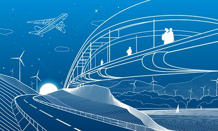 City infrastructure and landscape illustration. People walk across the river bridge. Automobile road in mountains. White lines on blue background. Vector design outline art Illusztráció