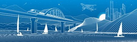 Outline illustration. City from mountains to mountains Yachts on water. Train travels along the railway bridge. White lines on blue background. Vector design town panorama Illusztráció