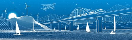 Outline illustration. View from the river to the night city. Windmills in mountains. Yachts on water. Train travels along the railway bridge. White lines on blue background. Vector design town panorama Illusztráció