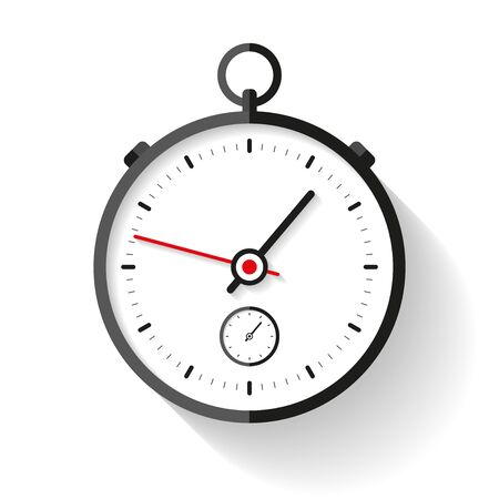 Stopwatch icon in flat style. Sport clock. Time tool. Vector design element for you business project
