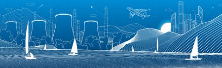 Outline illustration. City from mountains to night Power Plant on the river bank. Yachts on water. White lines on blue background. Vector design town panorama