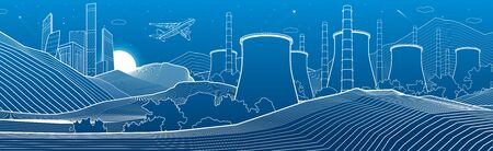 Outline industry illustration panoramic. Night city scene. Power Plant in mountains. White lines on blue background. Vector design art Illusztráció