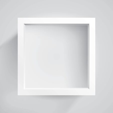 Realistic empty frame on light background, border for your creative project, mockup for you project. Vector design Illusztráció