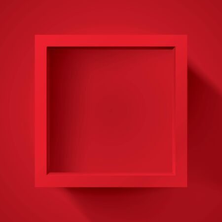 Realistic empty frame on red background, border for your creative project, mockup for you project. Vector design