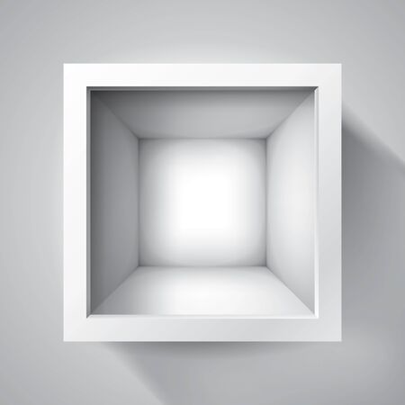 Open box. top view on empty cube, mockup design for your project. Vector volume realistic shape