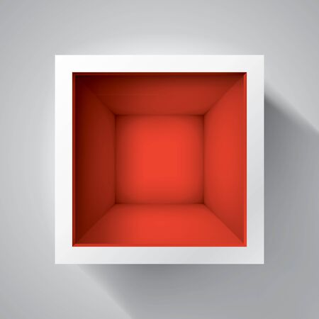 Open box. top view on empty cube, mockup design for your project. Red inside. Vector volume realistic shape