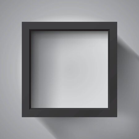 Realistic empty black frame on light background, border for your creative project, mockup for you project. Vector design Illusztráció