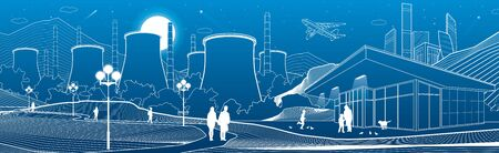 Outline industry and city illustration panoramic. Night town scene. People walking at garden. Power Plant in mountains. White lines on blue background. Vector design art