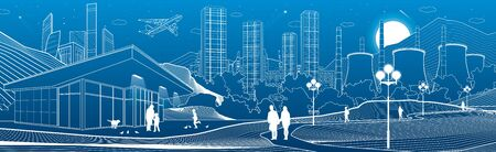 Outline industry and city illustration panorama. Evening town urban scene. People walking at garden. Night shop. Power Plant in mountains. White lines on blue background. Vector design art Stock fotó - 131999058