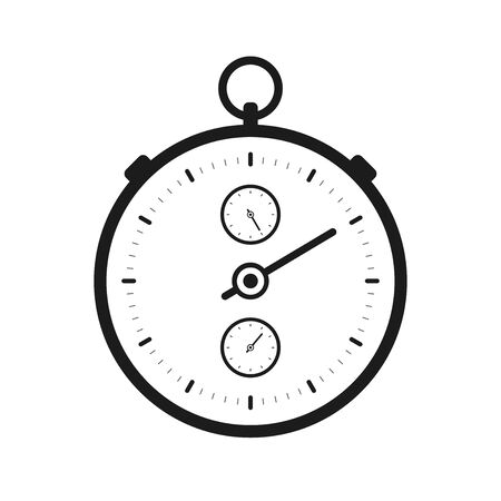 Stopwatch icon in flat style, black round timer on white background. Sport clock. Chronometer Time tool. Vector design element for you business project