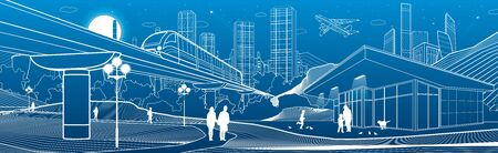 Outline industry city illustration panorama. Evening town urban scene. People walking at garden. Train rides. Night shop. Power Plant in mountains. White lines on blue background. Vector design art