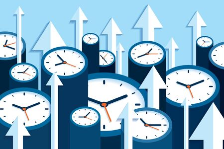 Time up. Fast decision. 3d Clock icons in flat style, arrows and timers on blue background. Time management. More watch and pointers. Business vector illustration for you presentation 일러스트