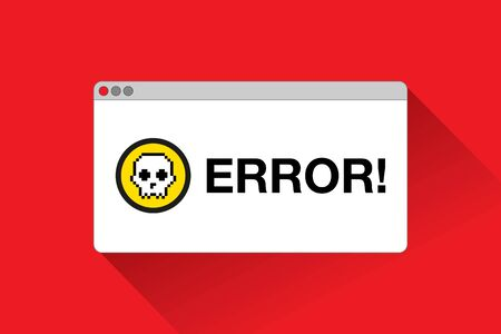 Stop page. Skull icon. Error window in flat style, vector design object for you projects Stock fotó - 131694171