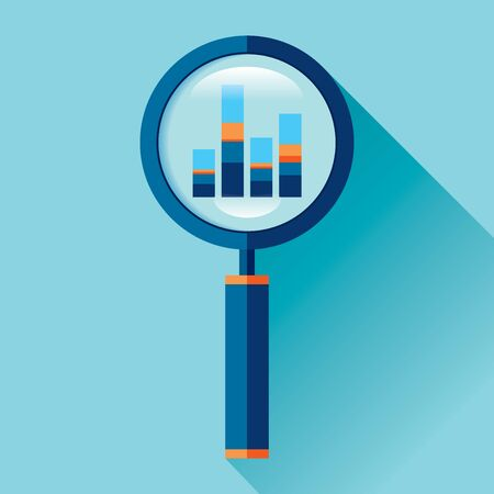 Magnifying glass icon in flat style. Search loupe on color background. Business analytic charts illustration. Vector design object for you project