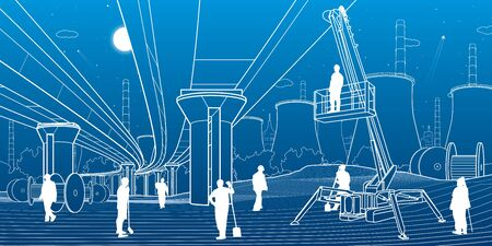 Construction site. People working. Service bridge. Industry machinery, crane lifts a man. Car overpass and power plant at background. Infrastructure urban buildings illustration. Vector design art