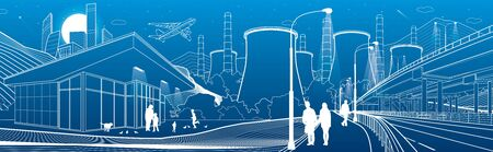 Outline industry and city panorama. Evening town urban scene. People walking at garden. Illuminated highway Night shop. Power Plant in mountains. White lines on blue background. Vector design art Ilustrace