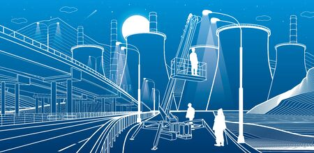 Workers serve the lights. Industry machinery, crane lifts a man. Illuminated higway. Car overpass and power plant at background. Infrastructure urban buildings illustration. Vector design art Illustration