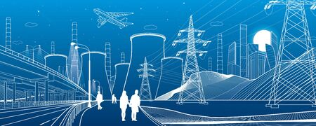 Energy illustration. Thermal power plant. Power line. Illuminated higway. People walking. Car overpass at background. Infrastructure urban scene. Vector design art