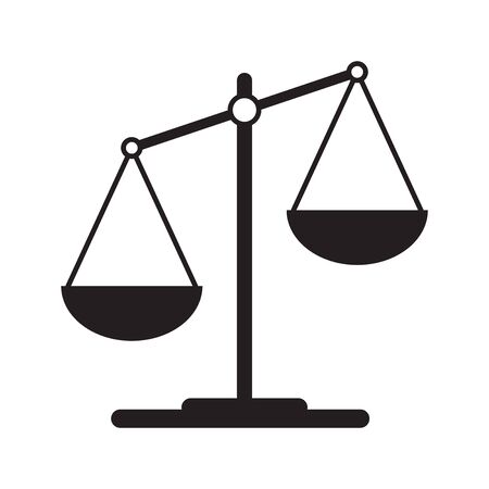 Scales icon in flat style. Libra symbol, balance sign. Vector design element for you project Vettoriali