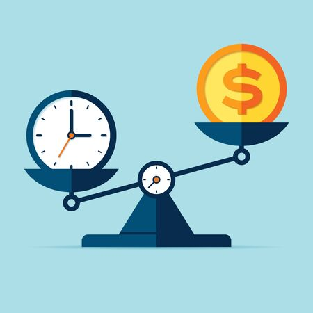 Time is money. Scales icon in flat style. Libra symbol, balance sign. Time management. Dollar and time icons. Vector design element for you project on color background