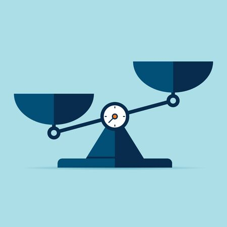 Scales icon in flat style. Libra symbol, balance sign. Vector design element for you project on color background